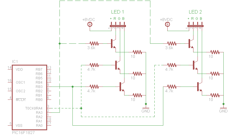 ColorSynth circuit driving two LEDs